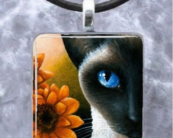 Art Glass Pendant 1x1 Jewelry Necklace from art painting Cat 575 siamese by L.Dumas