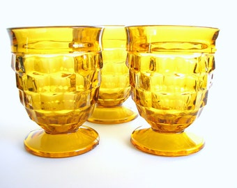 3 Vintage 1970's Amber Ice Cube Footed Goblets