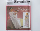 """Sewing Pattern Matching Girls and 18"""" Doll Nightgowns Simplicity 7841 Size 7 8 10"""