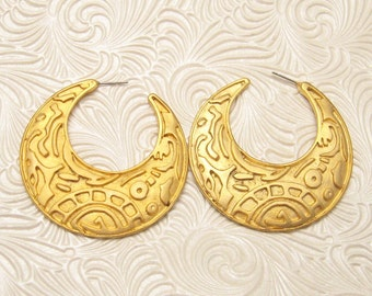 Vintage Hoop Earrings Large 80s E5460