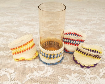 Lot of 5 Vintage Crocheted Drinking Glass Cozies