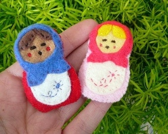 Matryoshka Nesting Doll Babushka Mini Felt Pin