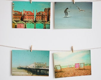 Postcard Set, Beach Photography, Seaside Art, Beach Huts, Bird Photo, Deck Chairs, Pier, Affordable Art - Brighton