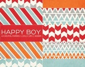 12x12 Digital Paper Collection - Happy Boy - Great for Photographers or Scrapbooking - 10 .JPG files - PX8021