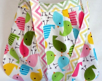 READY TO SHIP Her First Mod Purse in Pleated Ann Kelle Spring Birds and Chevron (see shop annc. for free shipping offer)