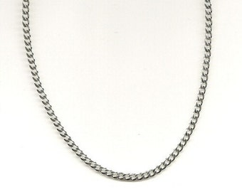 21 inch 3mm Curb Necklace with Lobster Clasp, 925 Sterling Silver, Classic Curb Chain, Strong Silver Chain