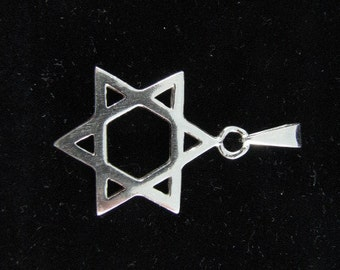 Classic Star of David Pendant Sterling Silver 925