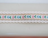 Sweet Little Pastel Apples  - Vintage Fabric Trim Embroidered New Old Stock Fruit Juvenile Lace