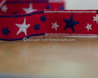 3 yards Seeing Stars - Vintage Fabric Trim Embroidered New Old Stock Patriotic Nautical 4th of July