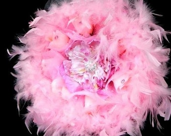 Whimsical Fantasy Wedding Bouque, Pink Peony, Pink Roses, Feathers, Crystals, Brooch