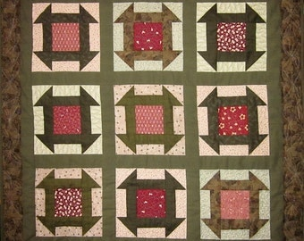 Patchwork Quilt - olive and red Japanese Churn Dash wall hanging