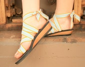 Low Wedge Ribbon Slide Sandal by Mohop | Handmade Vegan Shoes with 5 Interchangeable Ribbons