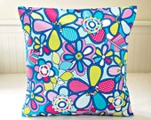 retro style cushion cover, blue lime pink  flowers floral decorative pillow cover 16 inch