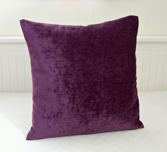 purple accent pillow cover 18 inch velvet by LittleJoobieBoo