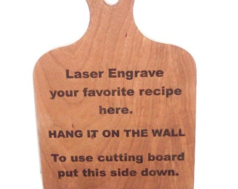 "LASER ""Your Favorite"" Recipe on a Cherry Hardwood Cutting Board"
