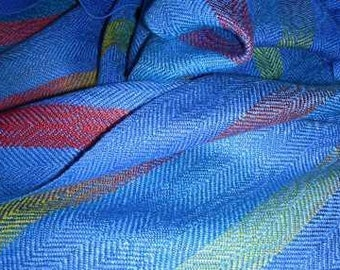 Handwoven, Hand painted Silk Scarf - 'Blue Hyacinth Parrot Design'