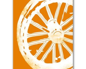 The wheel print - wheel silhouette,orange color,