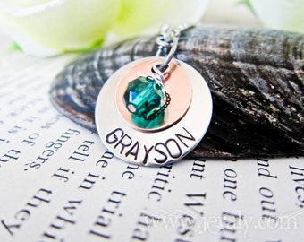 Hand Stamped Mother Necklace with Design Symbol or Date of Birth - Custom Birthstone Charm - Two Discs