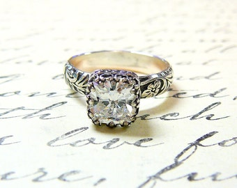 Anabelle Ring - Vintage Engagement Sterling Silver Ring with Tiara Crown bezel set with Anitque Cushion Cut CZ - Wedding