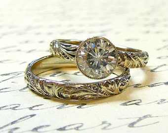 14k White Gold Vintage Antique Floral Wedding set 1 carat Moissanite