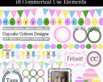 Spring and Easter Fun Borders Element Clip art Digital  Commercial use  Instant Download