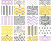 Lavender, Gray and Yellow Custom Crib Baby Bedding Wisteria Blooms Two Collection Premier Prints Chevron Ikat Stripe Purple Damask White