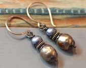 Pearlized Glass Pearl Earrings Blue Pearl Earrings Bronze Gold Mixed Metal Jewelry