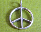 Sterling Silver Peace Charm Make Love Not War Sign of Peace Lightly Oxidized Pendant