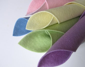 Wool Felt Sheets, Pastel Color Story, 8x12 Inch, 100% Merino, Pure Wool, Felt Fabric, Baby Colors, Spring, Blue, Green, Pink, Lilac, Yellow