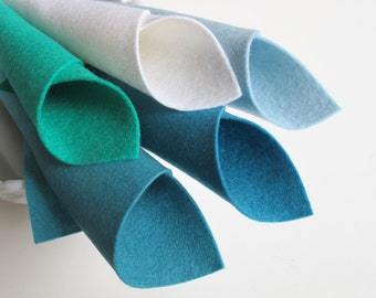 100% Wool, Aquarius Color Story, Felt Fabric Sheets, 8 x 12 Inch Sheets, White, Ocean Blue, Aquamarine, Sea Green, Bermuda Blue, Felt Toys