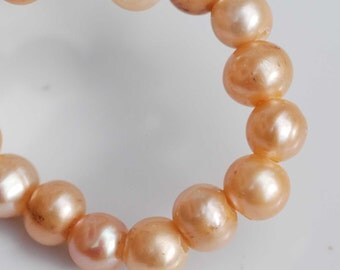 Large Hole Pearl Round Pearl Freshwater Pearl champagne AA 7-8mm with 2.5mm hole beads--10 pc high quality  #LH8006
