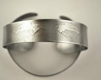 slim steel raven cuff, stainless steel bangle, medium surgical steel cuff