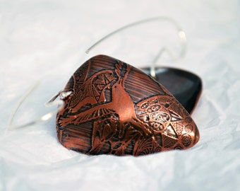Crow Triangle Shape Copper and Silver Earrings