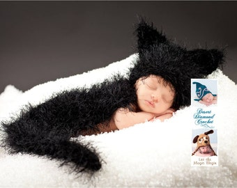 Black Cat Cuddle Critter Cape Newborn Photography Prop