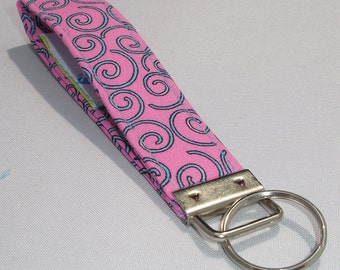 Key fob Keychain wristlet aqua turquoise swirls pattern on pink