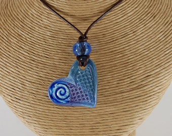 Glass Infused Heart Pottery Pendant J110 Necklace