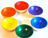 Back to School / Educational Toy - The ORIGINAL Rainbow Wooden Sorting Bowls  -  Waldorf Toy / Wooden Toy