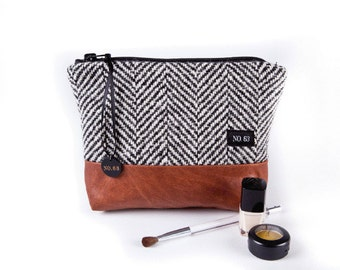 Herringbone recycled wool and leather cosmetic case , pouch