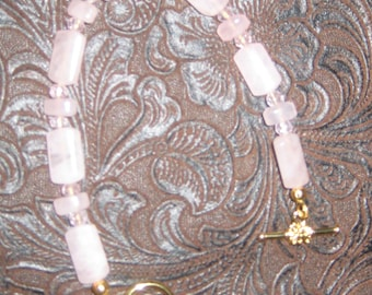 Rose Quartz Bracelet with Toggle Clasp