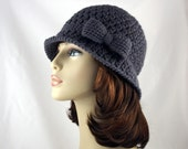 Hand Crochet Cloche in Charcoal with Bow