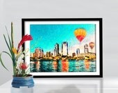 Jacksonville Florida Skyline poster  artwork  Mixed Media  art   on canvas Handmade Wall Decor giclee large print