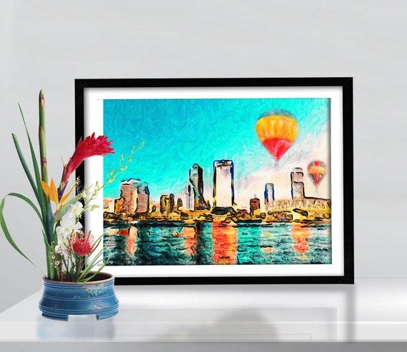 Print Jacksonville Florida Skyline poster Mixed Media  Birthday Gift art  canvas Handmade Wall Decor giclee