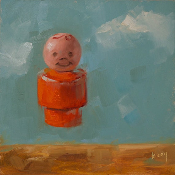 Original Oil Painting by Kathleen Coy. Fisher Price boy.