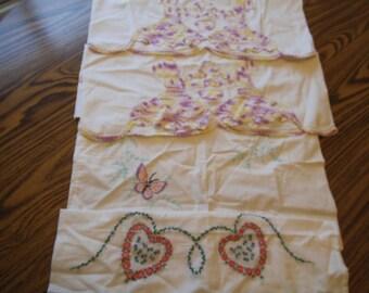 Vintage Pillowcase Pillow Case Trim Butterflies Hearts Sounthern Belle Pink Purple Yellow Aqua