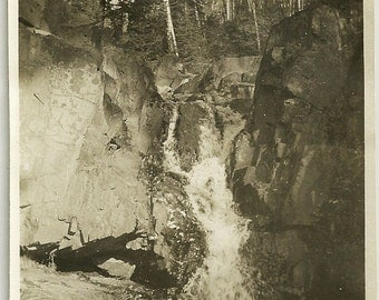 Vintage Scenic Photo Magnificent Waterfalls Over High Rock Cliff Under Birch And Evergreen Trees Photograph