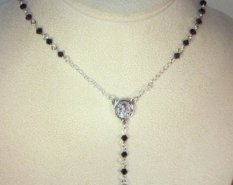 Swarovski Pearl or Crystal Rosary Necklace - Custom Made - Choice of Pearl or Crystal Colors - Silver or Gold