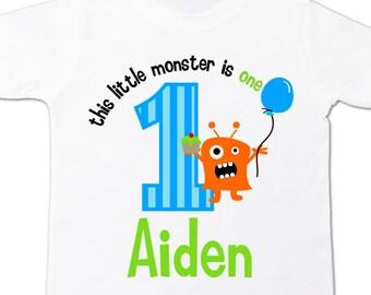 monster first 1st birthday shirt personalized little monster birthday boy t-shirt
