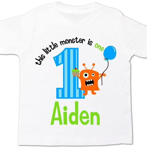 monster first 1st birthday shirt personalized little monster birthday boy t-shirt