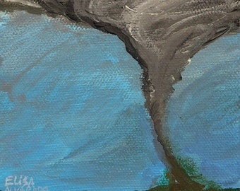 Tornado painting, original twister painting on canvas, storm art