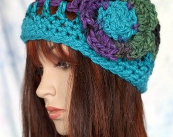 Hat - Turquoise Purple Green and Blue with Matching Flower - Open Weave Thick and Warm Beanie Cloche Hat Beret Cap